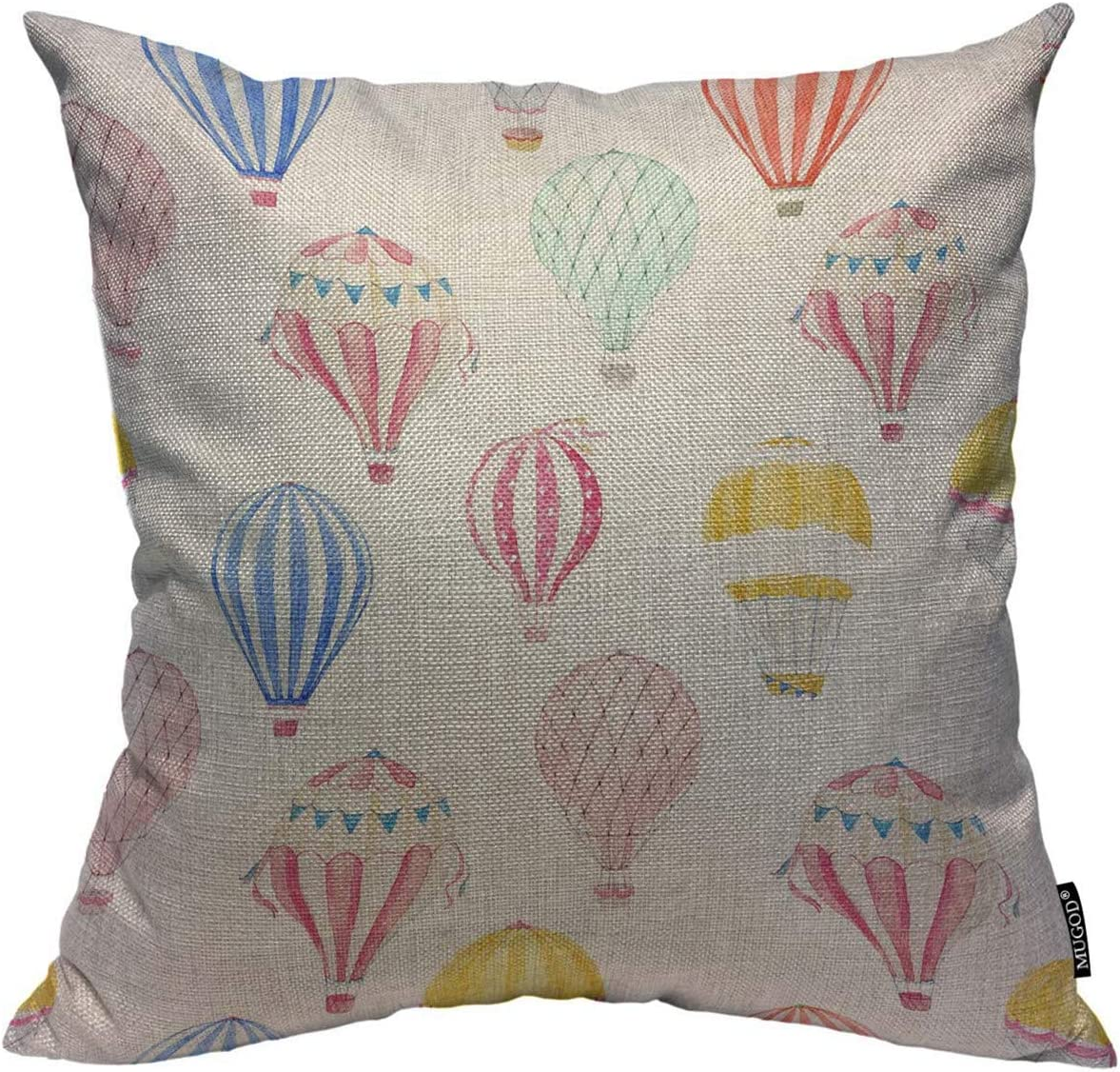 Mugod Balloon Throw Pillow Cover Cute Watercolor Hot Air Balloons Pattern Decorative Square Pillow Case for Home Bedroom Living Room Cushion Cover 18x18 Inch