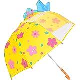 Parapluie pour Enfant, Rainbrace Garçon Fille Avec Une Fenêtre Transparente, Oiseaux et Fleurs (Jaune)