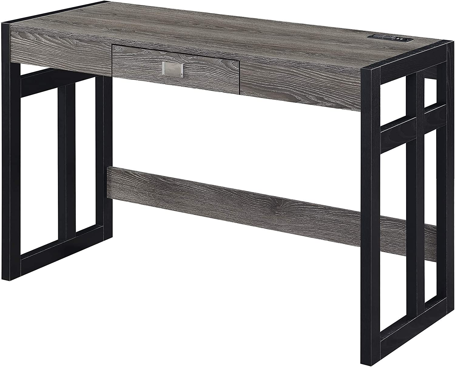 Convenience Concepts Monterey Desk with Charging Station, 47-inch, Weathered Gray/Black