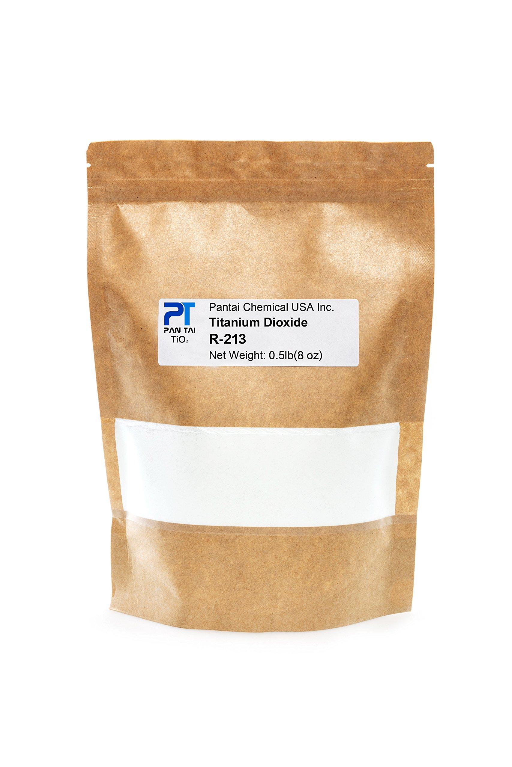 Pure Fine Titanium Dioxide (TiO2) Food-Grade Safe Colorant | Pigment, Toothpaste, Edible Use | Vegan Friendly, Non-GMO | Resealable Bag (R-213) 16oz/8oz/4oz (8oz/0.5lb)