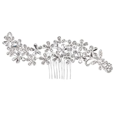 Clearine Women's Bohemian Crystal Cluster Vine Flower Romantic Wedding Bridal Bling Hair Comb Clear Silver-Tone JJtklY