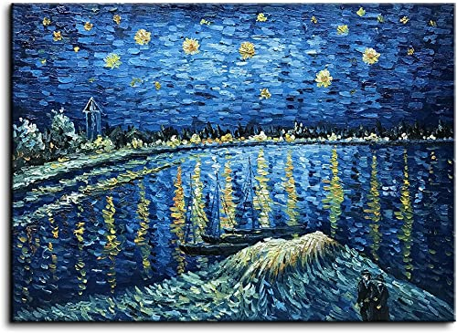 Baccow Handmade Starry Night Van Gogh Oil Paintings on Canvas, 3D Texture Abstract Contemporary Art Framed Wall Painting Pictures for Living Room Bedroom Bathroom Kitchen Office Home Decorations Gifts