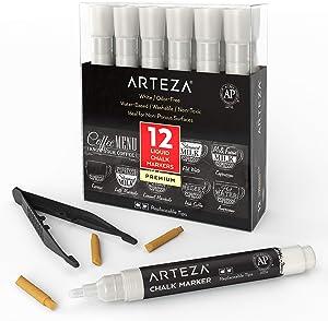 ARTEZA Liquid Chalk Markers Set of 12 (White Color, 12 Replaceable Chisel Tips, 1 pc Tweezers) - Washable - Water-Based - White Liquid Chalkboard Markers