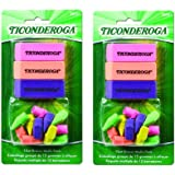 Dixon Ticonderoga Office and School Eraser Combination Set, 2 Packs of 15 Eraser Multi-Pack, Multicolored (38931) (Bundle)