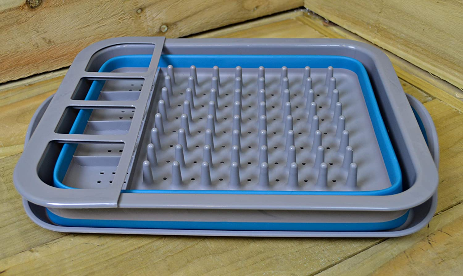 Summit Dish Drainer with Drip Tray - Folding - Blue