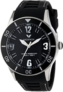 Viceroy Mens 42108-55 Fun Colors 12 Round Stainless Steel Luminous Hands Black Soft Rubber