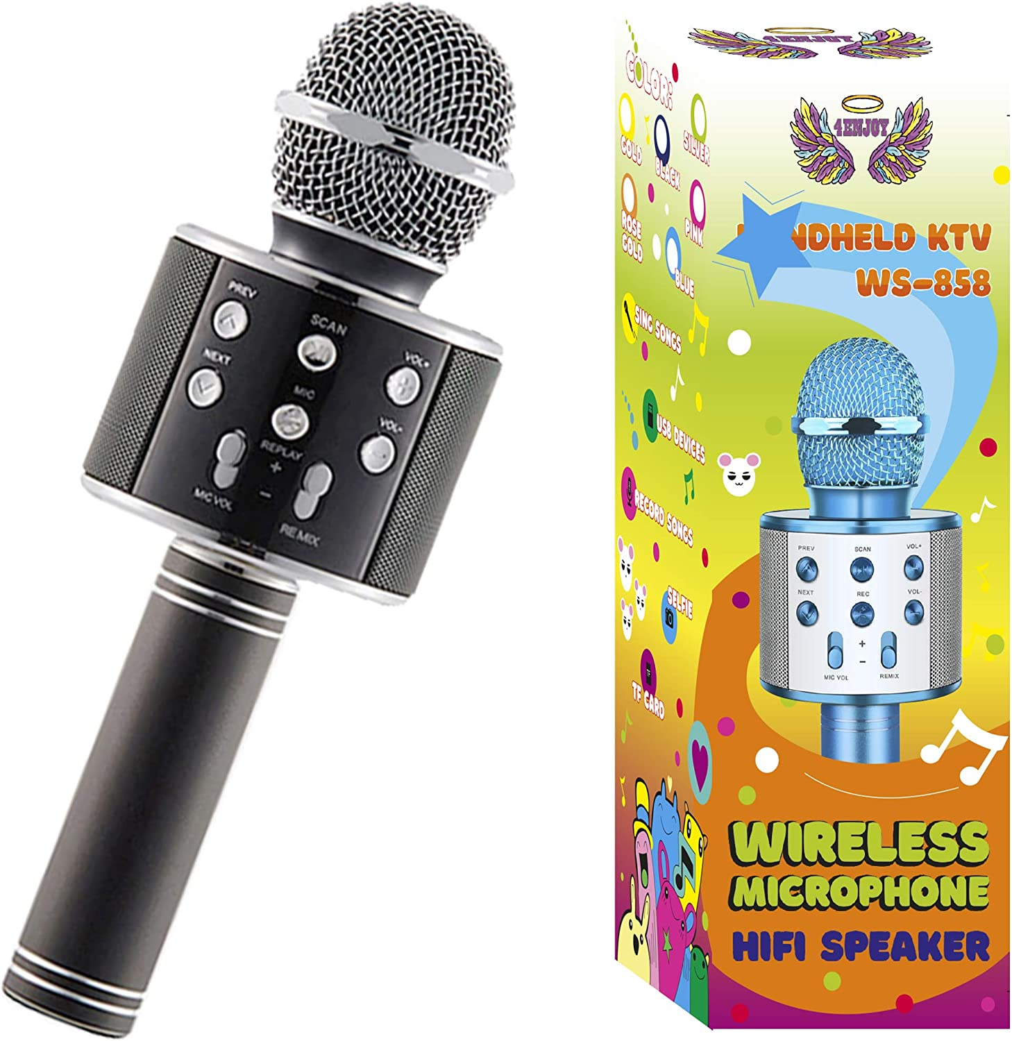 Wireless Bluetooth Karaoke Microphone for Kids Christmas Birthday Home Party for Android/iPhone/PC or All Smartphone All-in-One Karaoke Machine (Black)