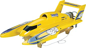 Aquacraft Models RTR Remote Control RC Boat: U-18 Miss Vegas Deuce High Speed Nitro Hydroplane with 2.4GHz Radio, Receiver, Servos, Engine, Q-18 Tuned Pipe, Electric Starter, and Stand (White)