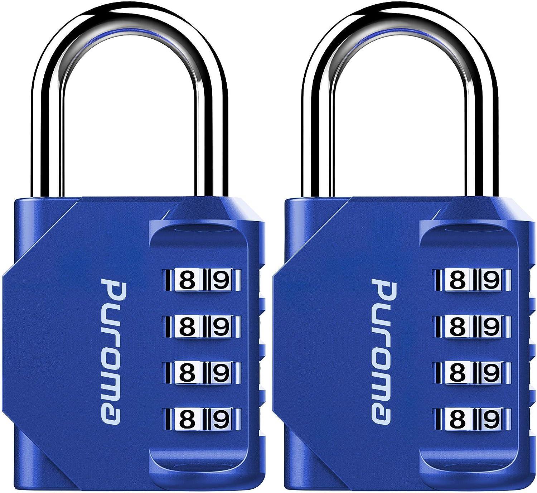 2 candados de combinación de 4 dígitos para exteriores azul
