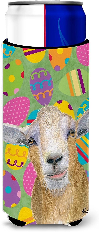 Caroline's Treasures RDR3021MUK Eggtravaganza Goat Easter Ultra Beverage Insulators for slim cans, Slim Can, multicolor