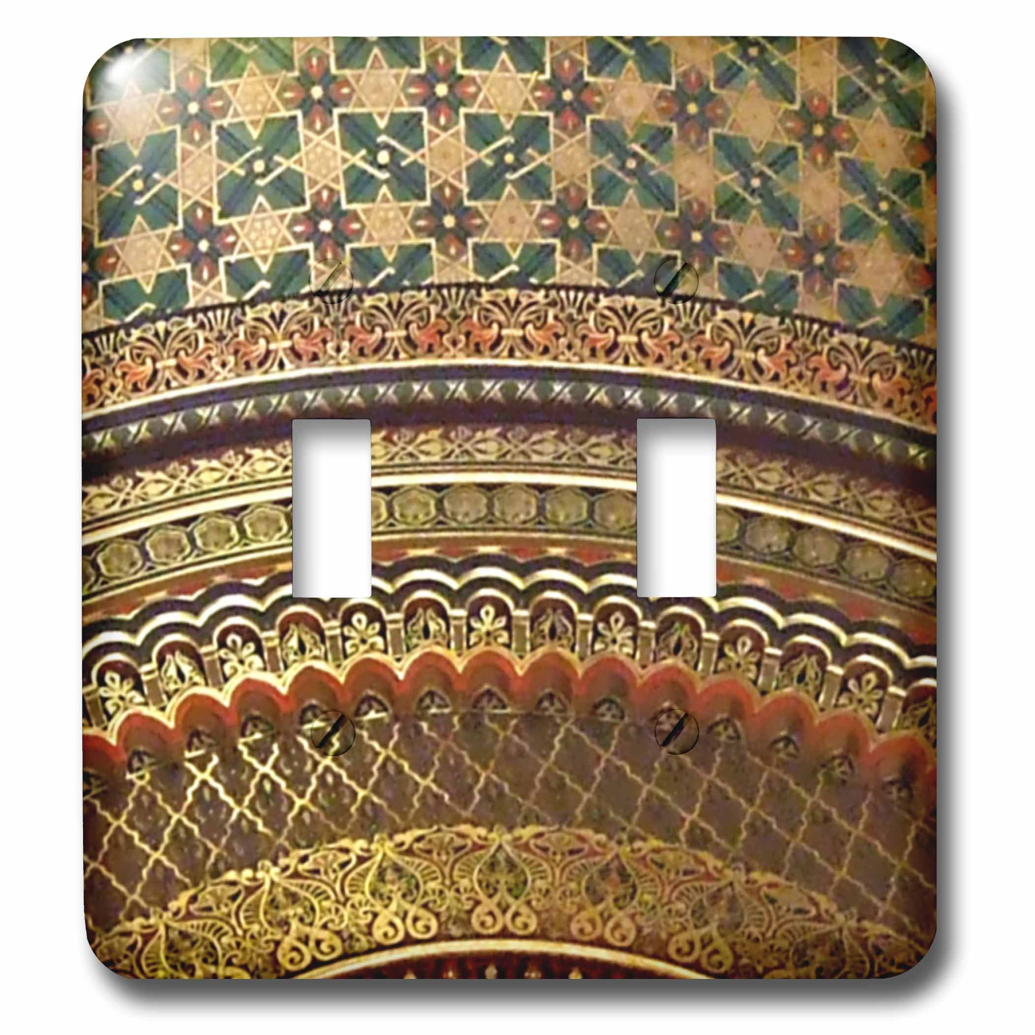 3dRose lsp_155664_2 Gold-Look Stripe Pattern with Magen David Stars Matte Middle Eastern Arabian Moroccan Abstract Light Switch Cover