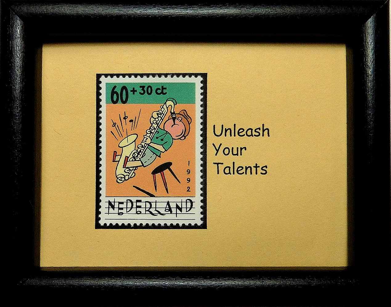 Boy with saxophone Music Nederland -Handmade Framed Postage Stamp Art 0578W