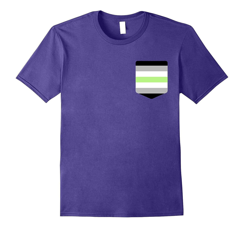Agender Flag Shirt, LGBT Pride Pocket Print-T-Shirt