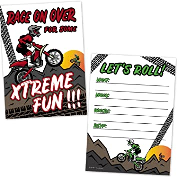 Motocross Dirt Bike Racing Party Birthday Invitations For Kids 20 Count With Envelopes