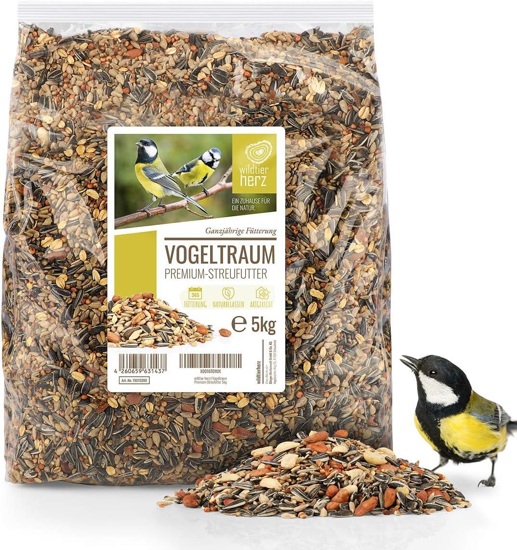 corazón animal salvaje | Alimentación para Pájaros - 5 kg, Sin Trigo, Comida Gorriones, Alimentos para Aves