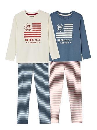 Vertbaudet Boys  Pack of 2 Mix   Match Pyjamas Blue Bright 2 Color Multicol 73bc68bc30659