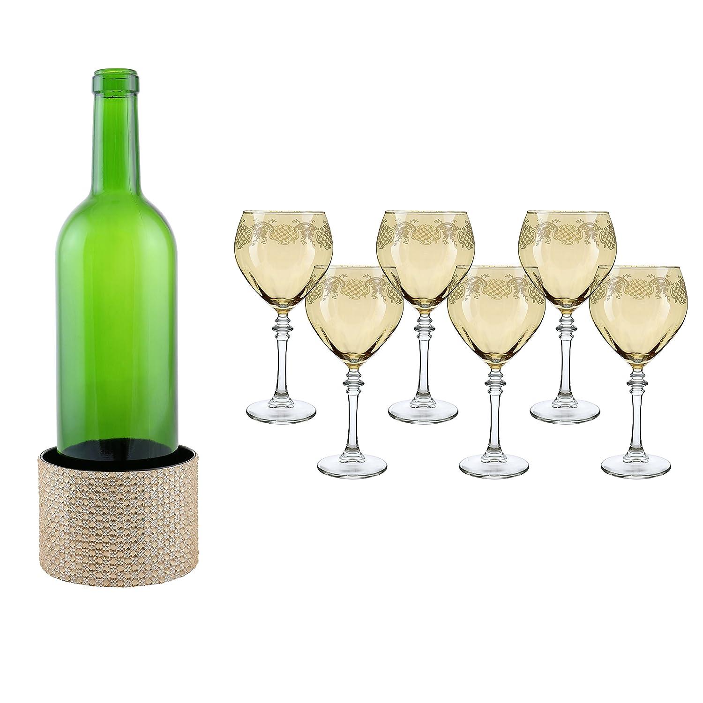 イタリアワインメガネセット6ピースGobletセットゴールドオレンジガラスと1でフリーメタルクリスタル装飾ワインコースターサーフェスプロテクター7 pc値パックギフトセット B0742PYXLC