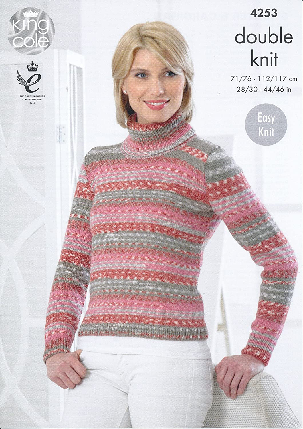 f297020a38b57 King Cole Ladies Double Knitting Pattern Womens Polo Neck Sweater   Cardigan  Drifter DK (4253)  Amazon.co.uk  Kitchen   Home