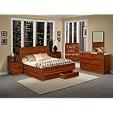Amazon.com: Metro Teak Wood Bedroom Furniture 6PC Set (California ...