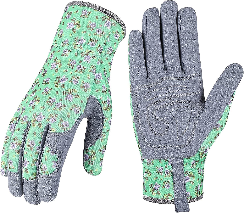 Leather Gardening Gloves for Women - Thorn Resistant Garden Gloves, Rose Pruning Gloves, Working Gloves for Weeding, Digging, Raking and Pruning (Green)