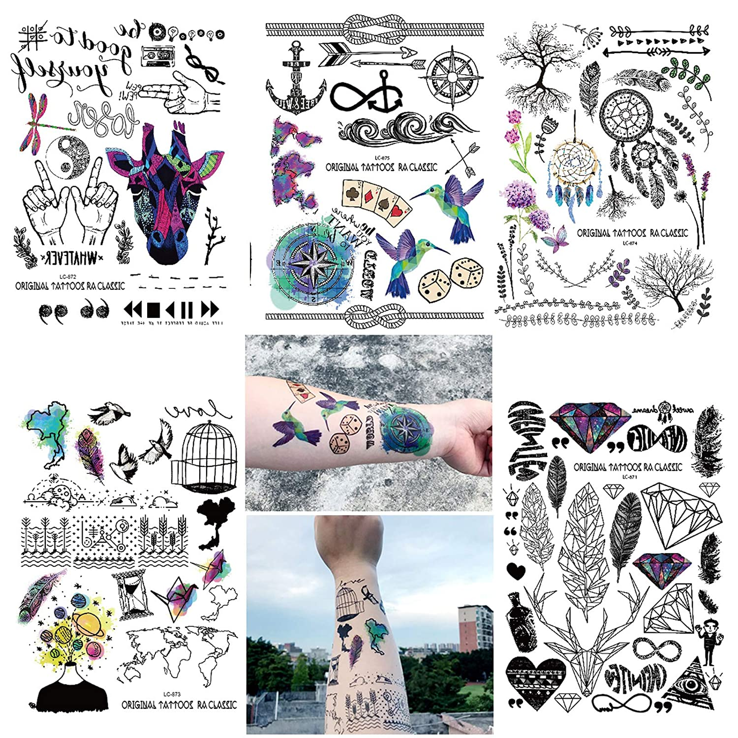 5 Sheets waterproof stickers for men and women (animals, geometric deer) water color dream mixed tattoo stickers