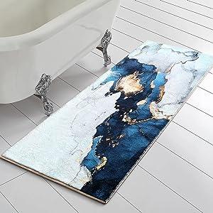 RoomTalks Blue Gold Marble Bathroom Runner Rug Faux Wool Shaggy Soft Non-Slip Bath Rugs for Small Bathroom Washable Floor Mat Luxury Modern Contemporary Abstract Art Decor (Blue, 18''W x 47''L)