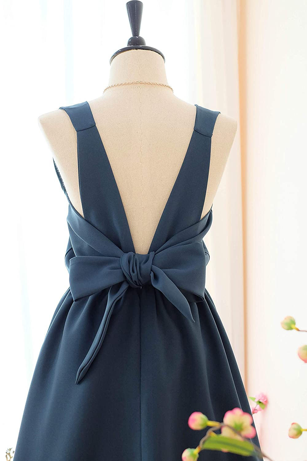 Spruce blue bridesmaid dresses prom party wedding cocktail evening short dress