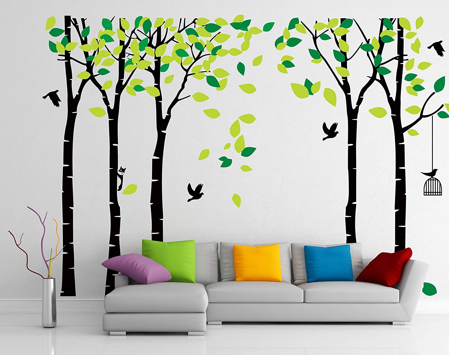 Jungle Tree Wall Decal REUSABLE Fabric Wall Decal Eco-friendly Pvc Free 804