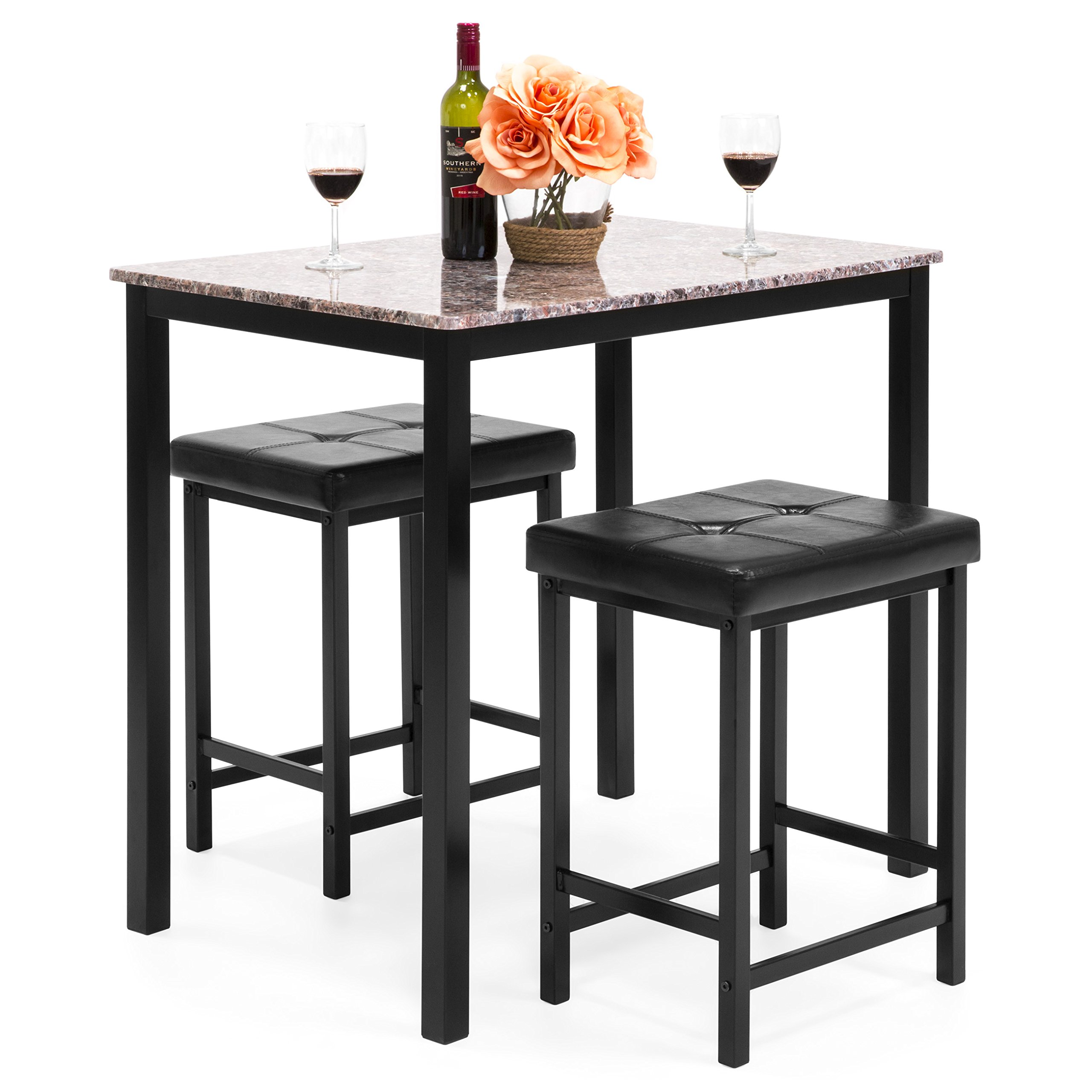 Best Choice Products Marble Counter Height Table Dining Set w/ 2 Faux Leather Stools by Best Choice Products