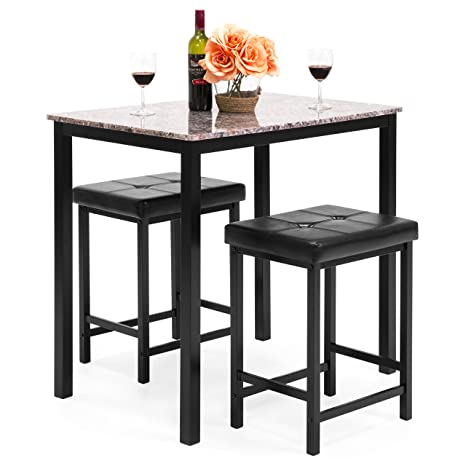 Amazing Best Choice Products Marble Veneer Kitchen Table Dining Set With 2 Counter Stools Brown Andrewgaddart Wooden Chair Designs For Living Room Andrewgaddartcom