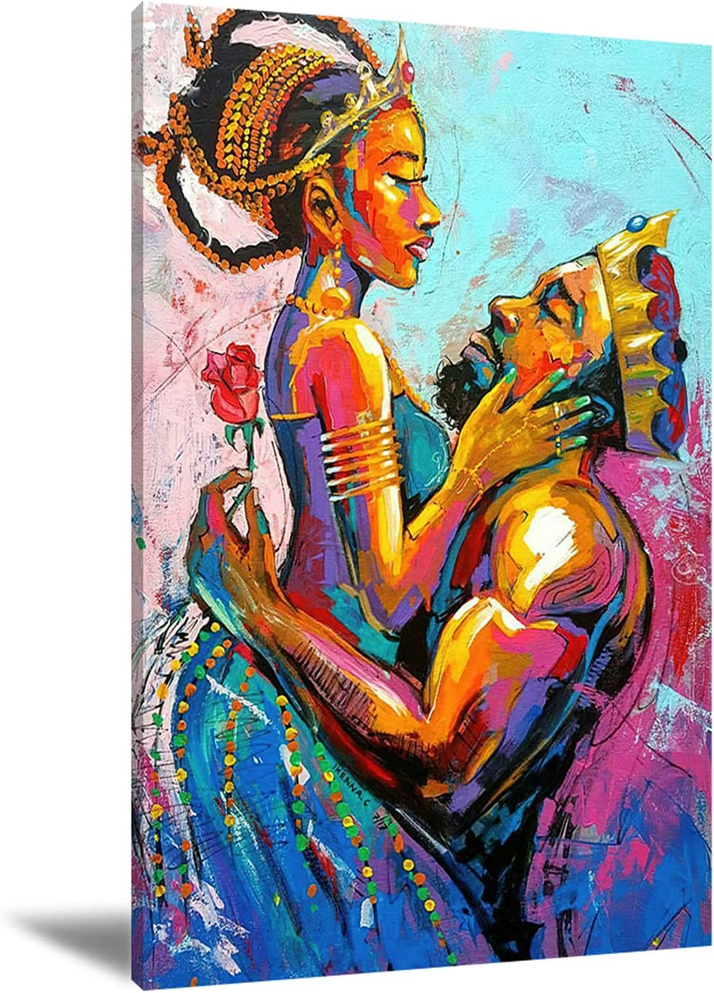 MITAKU African King and Queen Canvas Wall Art Black Art Paintings for Wall King & Queen Crowns Poster for Adult Bedroom Decor African Lovers Picture Artwork 24x16in Frameless