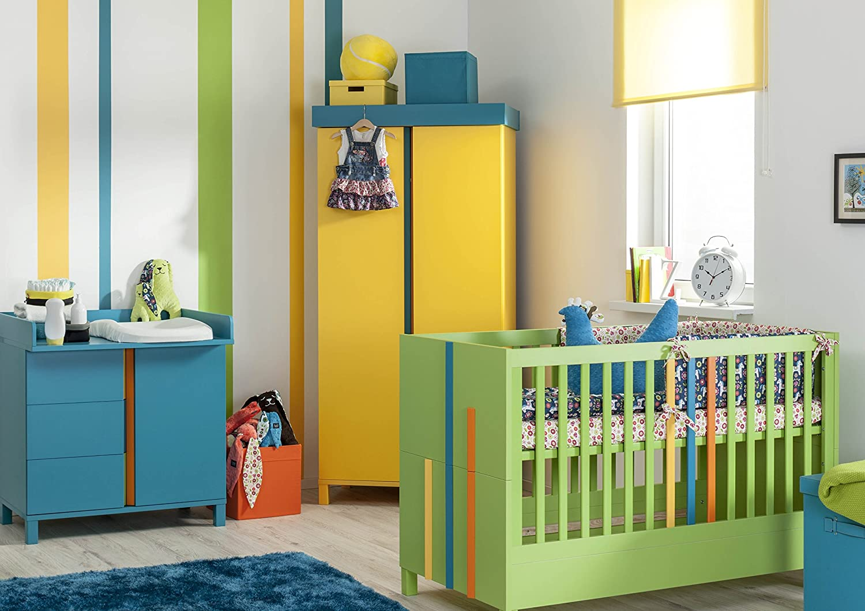 Babyzimmer Kinderzimmer Rainbow Bunt Komplettset Bett Schrank