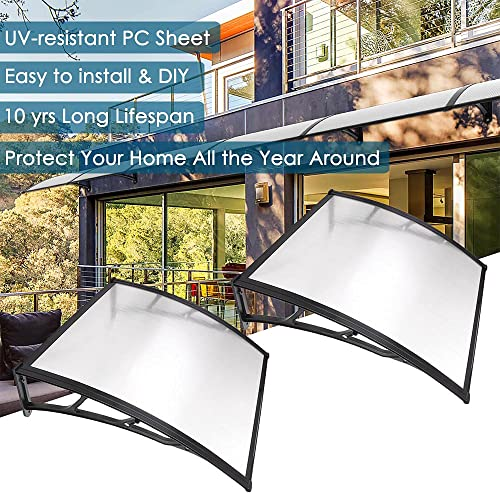 Instahibit 2 Whole 40″x40″ Window Awning Door Cover UV Rain Snow Protection Outdoor Patio Canopy One-Piece Hollow Sheets