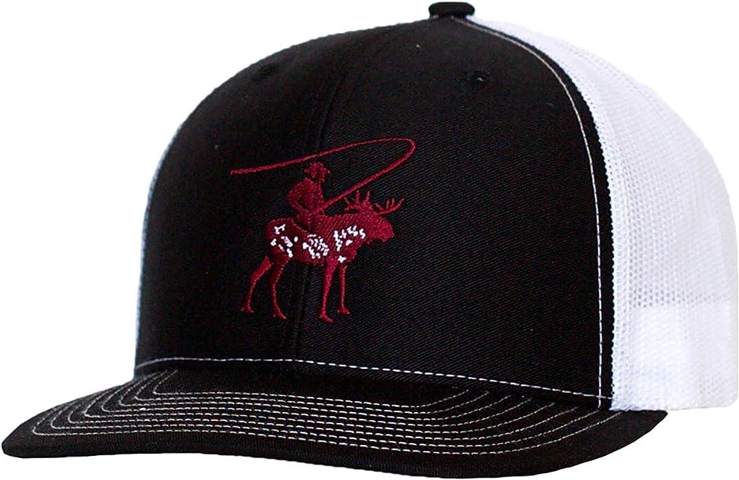 6dbc7ee43f6 Trucker Hat - Extraordinary Man Apparel - Moose Fishing Adventure Series -  (Black Cardinal White) at Amazon Men s Clothing store