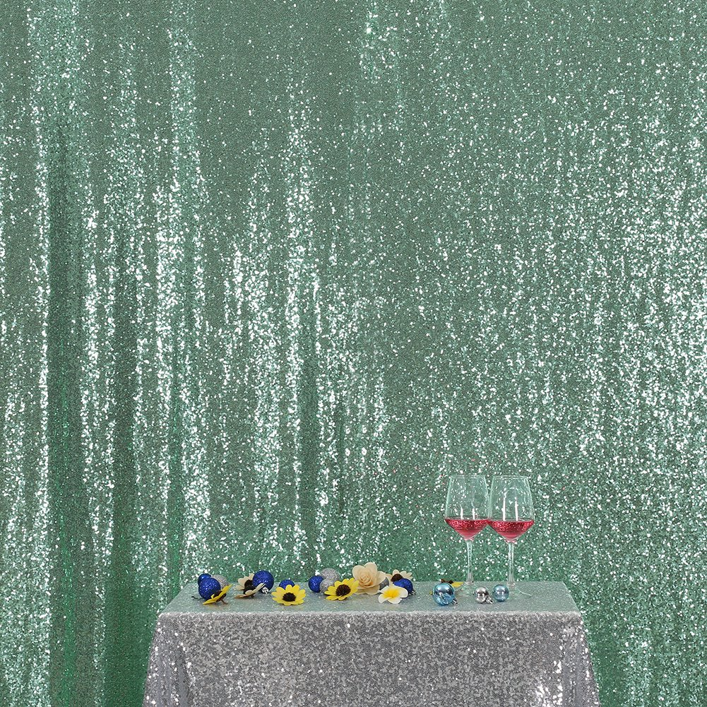 3E Home 10FT x 20FT Sequin Photography Backdrop Curtain for Party Decoration, Mint Green