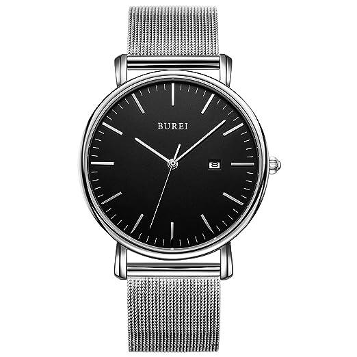 BUREI reloj ultra delgada minimalista de la cara grande y la banda milanesa de acero inoxidable con diseño clásico simple para hombres caballeros modernos, ...