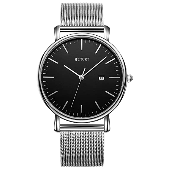 BUREI Elegante reloj para hombre minimalista ultra delgado Reloj milanesa Fecha para caballero reloj con banda