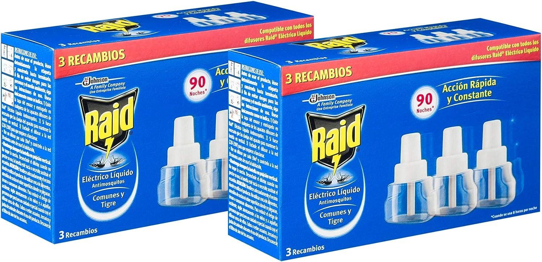 Johnson RAID Recarga Líquido, Dispositivo Anti Mosquito por 90 Noches - 2 Paquetes de 3 x 47.83 Gr - Total: 287 Gr