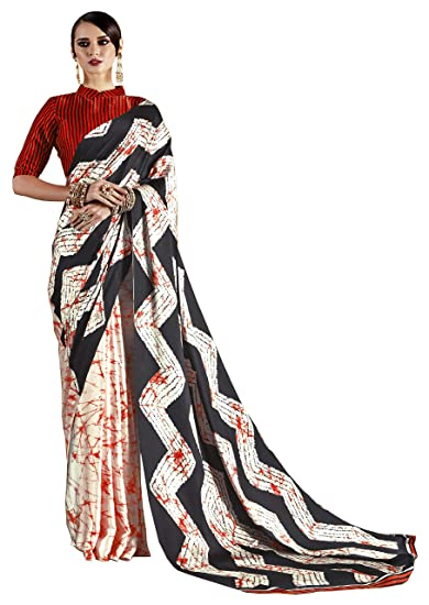 d217990971 SareeShop women's Daily Wear Casual Wear Designer Printed Synthetic Georgette  Saree With Unstitched Blouse Piece (RAJTEX70007_Black and Red_Free Size):  ...