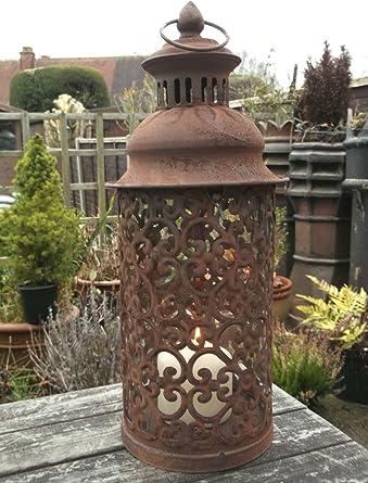 Portavelas grande de metal estilo antiguo estilo marroquí para jardín, rústico: Amazon.es: Iluminación