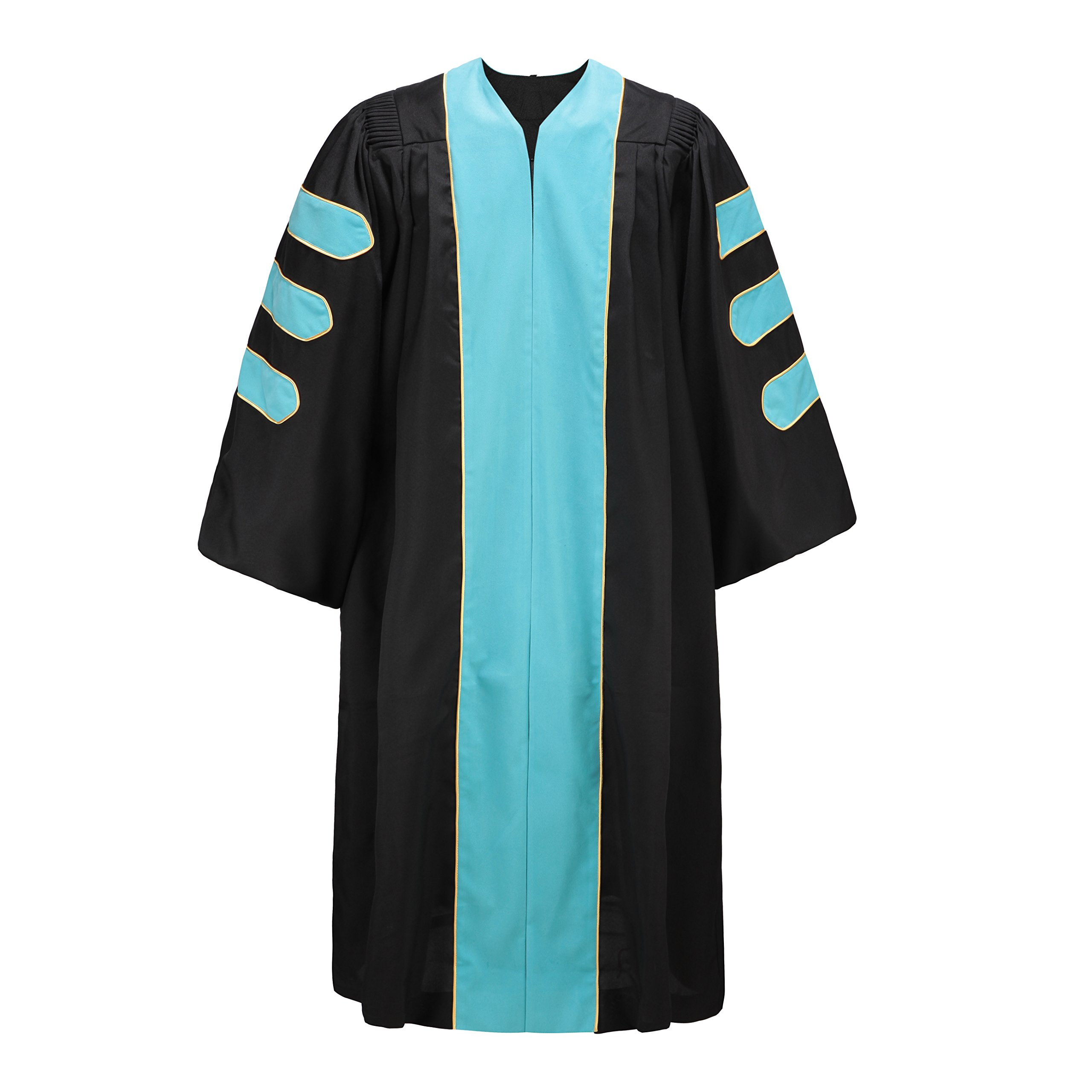 Robe Depot Deluxe Doctoral Gown for Professor, Sky Blue Velvet Trim Gold Piping Size 54