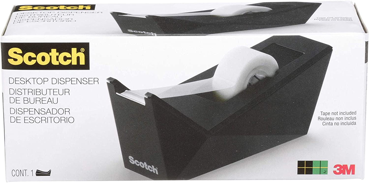 "Scotch Facet Design One-Handed Dispenser, with 3/4 x 350 Tape Roll, 1"" Core, Black (C17MB0)"