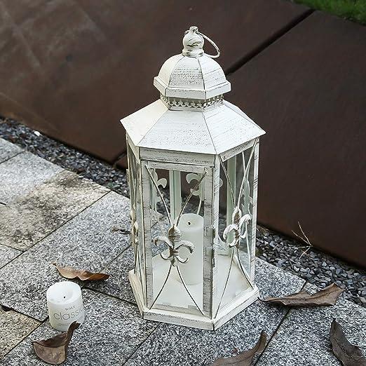 Metall Laterne Klassik 35 o 22 cm schwarz Glas Windlicht Garten Grab Deko Kerze