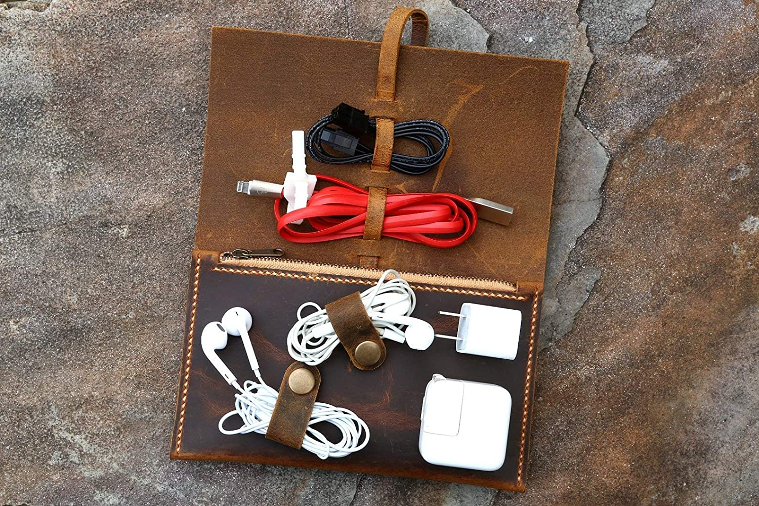 Handmade Leather Cord Organizer Leather cable managementCable organiserCord case pouchLeather Cord WrapGift for MenWomenCord Roll