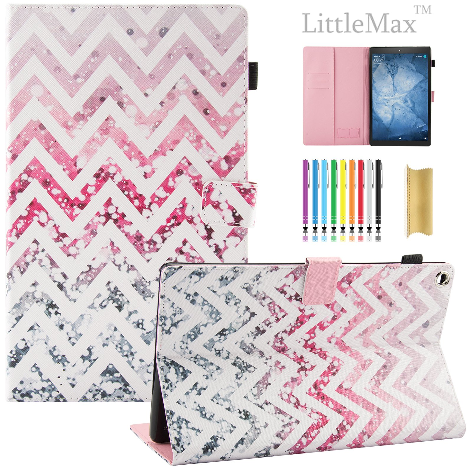 Fire HD 10 Case,LittleMax PU Synthetic Leather Case Flip Cover with Auto Wake/Sleep for Amazon Kindle Fire HD 10.1'' 2017 Release with One Free Stylus-# Rose Wave