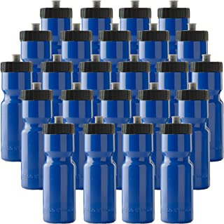 product image for Sports Squeeze Water Bottle Bulk Pack - 24 Bottles - 22 oz. BPA Free Easy Open Push/Pull Cap - Made in USA (Blue)