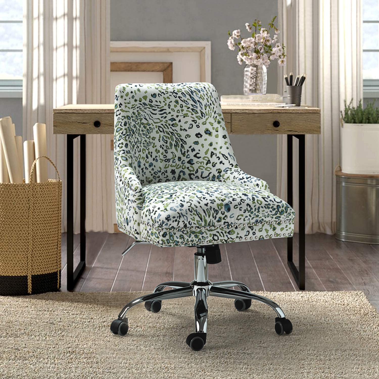 Fabric Task Chair Mid-Back Support Office Chair with Rolling Wheel Adjustable Computer Desk Chair,Olive