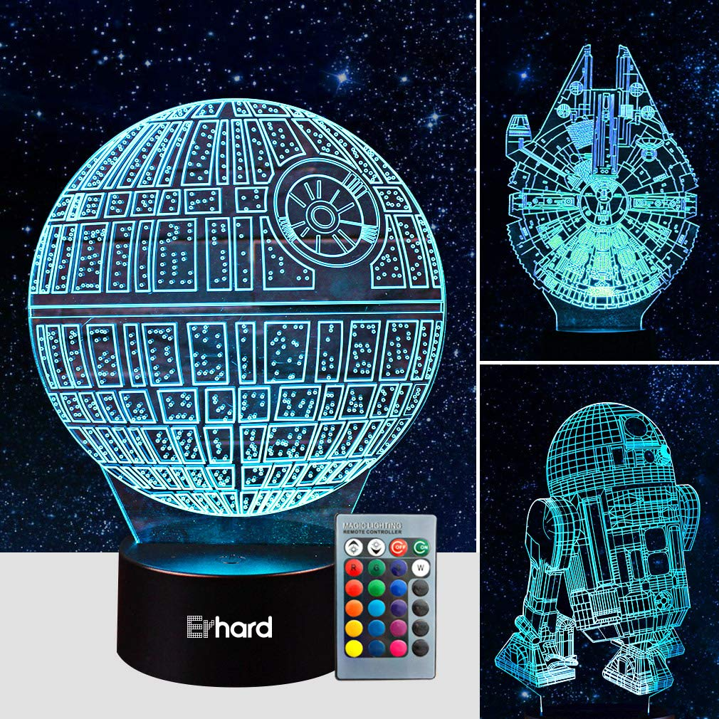 3D Led Illusion Lamp Star Wars Night Light - Three Pattern and 7 Color Change Decor Lamp with Remote Control - Perfect Gifts for Kids and Star Wars Fans
