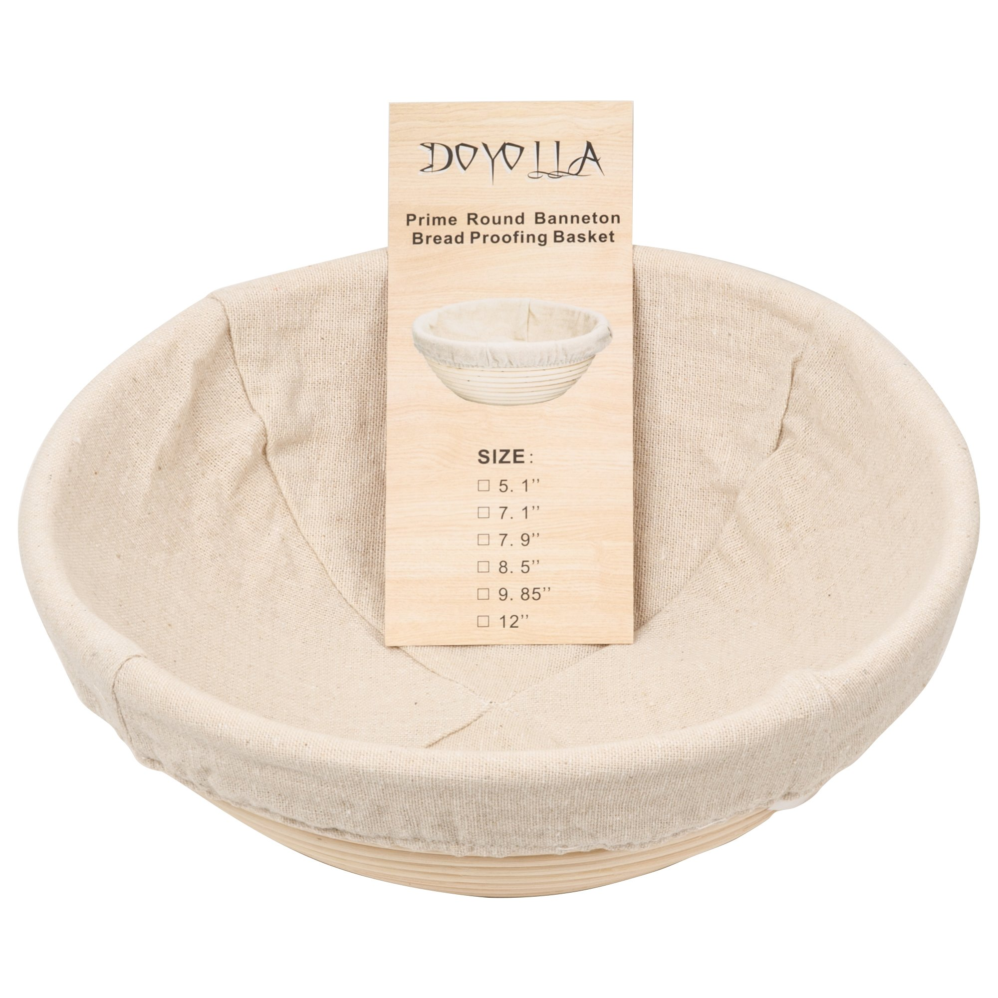DOYOLLA 1pcs 12'' Round Banneton Brotform Bread Dough Proofing Rising Rattan Basket & Liner