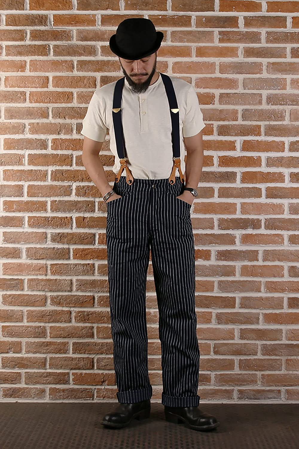 Edwardian Men's Fashion & Clothing Deep Blue Striped Loose Waist Strap Overalls Trousers PantsBronson Mens LOT924 $64.99 AT vintagedancer.com